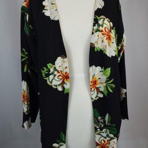 Jackets & Blazers - Black Floral Kimono